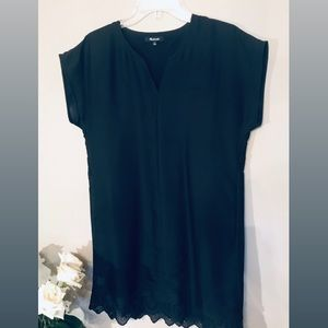Madewell Black Lattice-Trim Dress
